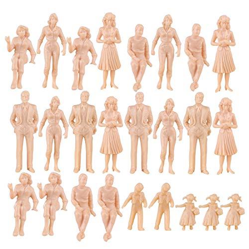 Spieland 25St. Minifiguren Eisenbahnzubehör Menschen Unbemalt Modellbau Figuren Spur für Modelleisenbahn und Fotogafieren, H0 1:25