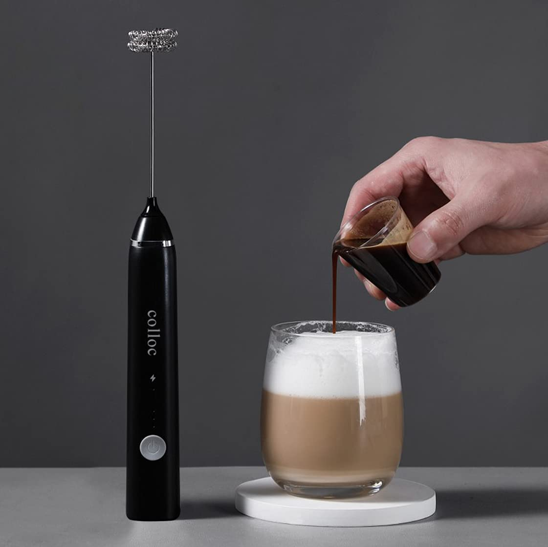 colloc Electric Milk Frother Coffee Super beauty product restock quality Attention brand top Household