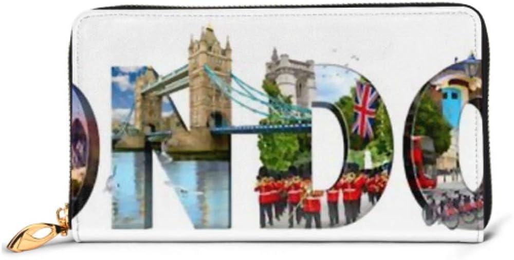 Fashion Handbag Zipper Wallet London City Landmarks Word Illustration Most Phone Clutch Purse Evening Clutch Blocking Leather Wallet Multi Card Org