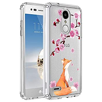 Ftonglogy Clear Flower Girls Pattern Design [5ft Drop Proof] Cute Fox Cherry Blossoms Women Phone Case for LG LV3 2018/Aristo 2/Tribute Dynasty/Zone 4/K8 2018