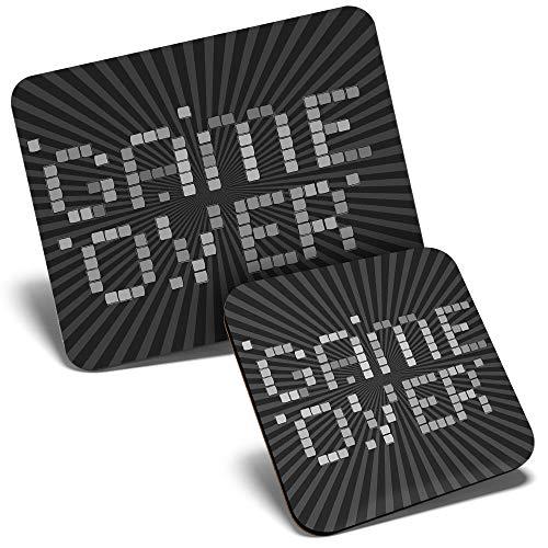 Juego de alfombrilla de ratón y posavasos BW - Game Over Retro Gaming 23,5 x 19,6 cm y 9 x 9 cm para ordenador y portátil, oficina, regalo, base antideslizante #36068
