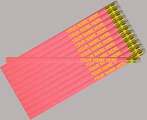 ezpencils - Personalized Pink Round Pencil - 12 pkg FREE PERZONALIZATION