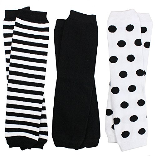 juDanzy 3 Pair Baby Boy And Girl Leg Warmers Black, black and White Stripes and Polka Dots (Newborn)