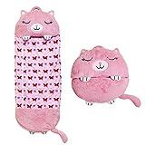 KEITE 2 in 1 Sacco A Pelo per Bambini, Comodo E Interessante Sacco A Pelo Caldo Morbido Caldo Cartone Animato 3-6 Anni (gatto rosa)