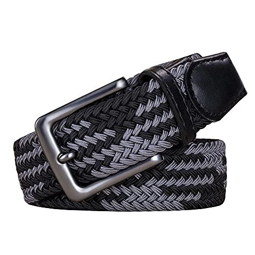 AGEA Elastic Stretch Woven Braided Waist Belt for Men and Women (Waist 36'-39', Black Gray)