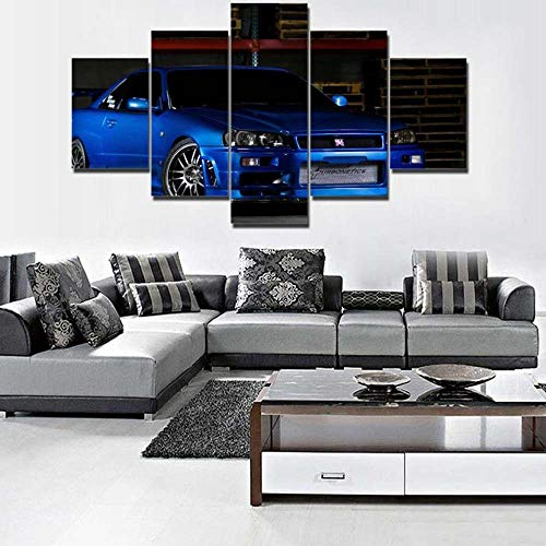 VKEXVDR 5 Paneles Pintura de la Lona Mural Supercar Azul GTR Arte Fotos Paisaje Imprimir Decoración Moderna del Ministerio del Interior Sin Marco 200 * 100cm