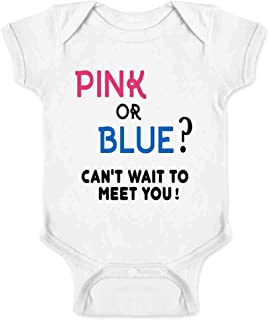 Gender Reveal Pink or Blue Can't Wait to Meet You Infant Baby Boy Girl Bodysuit