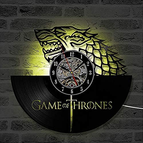 Registro de reloj de pared LED Record Wall Clock Winter is Coming Vinyl Record Clock Game of Thrones Reloj de pared colgante Regalo de cumpleaños Decoración para el hogar Reloj de pared de vinilo