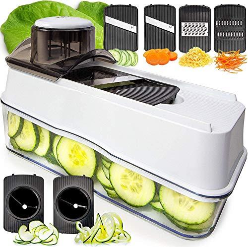 Fullstar Mandoline Slicer Spiralizer Vegetable Slicer - Veggie Slicer 6-in-1 Mandoline Food Slicer with Julienne Grater - V Slicer Mandoline Cutter - Vegetable Cutter Zoodle Maker