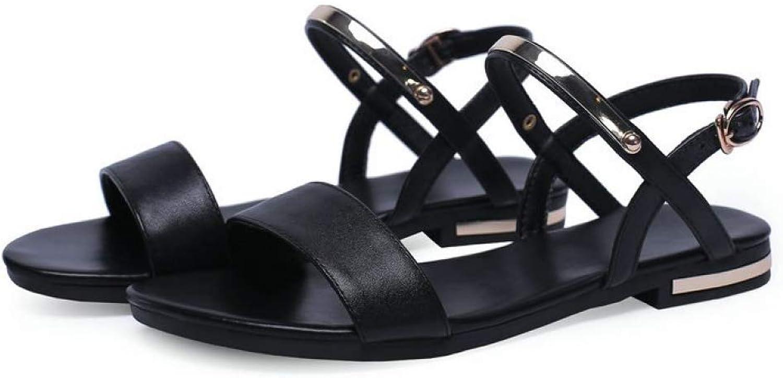 MEIZOKEN Women's Soft Faux Leather Flat Sandals Casual Open Toe Glitter Ankle Strap Buckle Beach Sandals