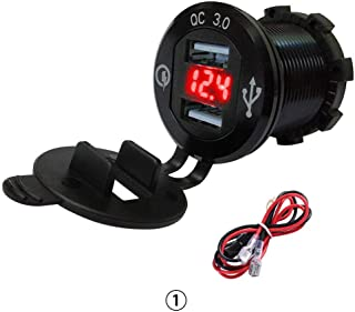 RUNGAO QC 3.0 Dual USB Charger Socket Car Power Outlet Marine Cigarette Lighter Adapter LED Voltmeter for 12V/24V Boat Motorcycle Truck Black & Red light
