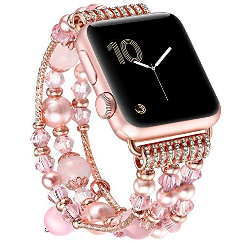 fastgo Compatible for Apple Watch Bands 38mm 40mm Women, Bling Diamond Rhinestone Stainless Steel Elastic Bracelet Strap for Iwatch SE&Series 6 5 4 3 2 1(38mm 40mm)