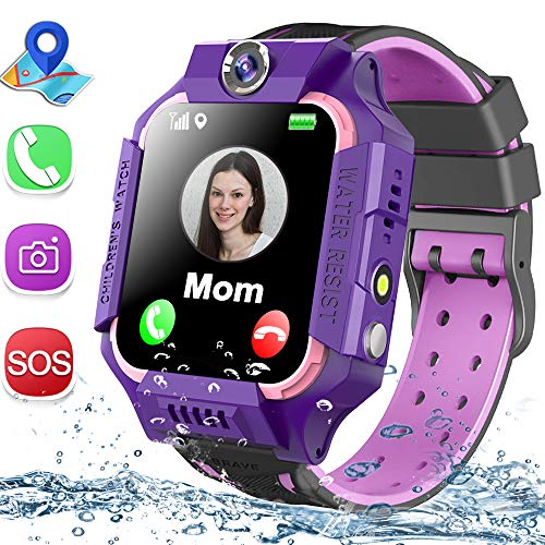 "Kids Smart Watch Phone Waterproof GPS Tracker for Girls Boys 4-12 Age, Kids Phone Watch with 2 Way Call SOS Emergency Alert Games Camera Flashlight 1.5"" Touch Screen Birthday Gift (Purple)"