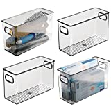 mDesign Plastic Storage Bin Container with Handles for Bathroom Vanity Countertop, Shelves, Cabinet and Under Sink Storage - Holds Hand Soap, Body Wash, Shampoo, Lotion - 10' Long, 4 Pack - Smoke Gray