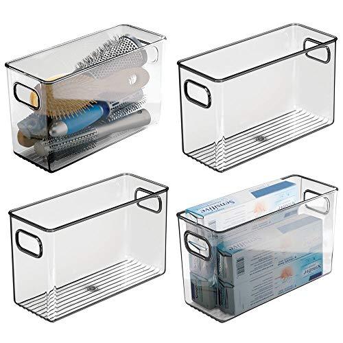 mDesign 4er-Set Ablagebox mit integrierten Griffen – transparente Aufbewahrungsbox mit ansprechendem Design – ideal zur Kosmetikaufbewahrung im Bad – grau
