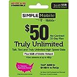 SIMPLE Mobile Refill Card - $50 ReUp Prepaid Airtime Card (Physical Card Shipped)