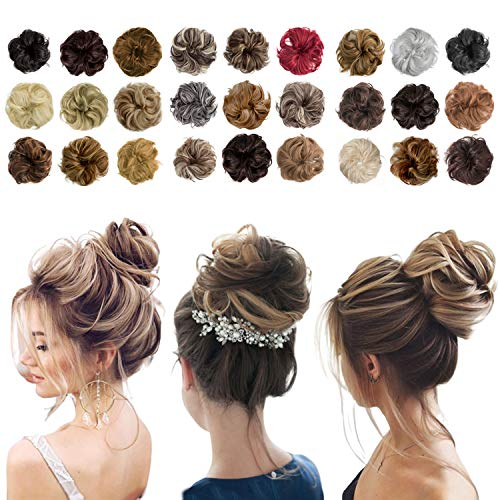 Messy Bun Hair Piece Thick Updo Scrunchies Hair Extensions Ponytail Hair Accessories Light Brown&Ash Blonde