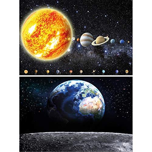 GREAT ART 2er Set XXL Poster – Erde und Sonnensystem Globus vom Mond Astronomie Universum Milchstraße Wandbild Dekoration Wandposter Fotoposter Wanddeko Planeten (140 x 100cm)