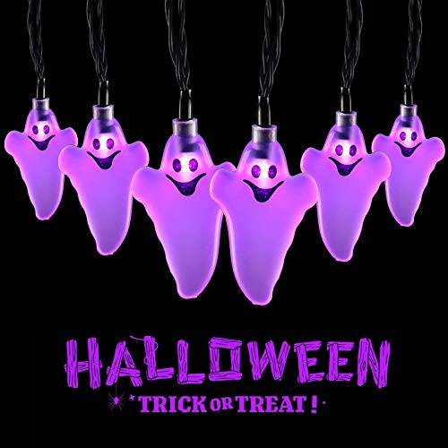 Purple Ghost String Light 20 LEDs 3.5 Meters Halloween Ghost String Lights for Halloween Christmas Party Decorations Light Indoor Outdoor Decorations - Battery Operated - Purple