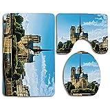 Set de alfombras de baño de seguridad Paris Decor Cathedrale Notre Dame De Paris Destinos de viaje monumentales antiguos Paisaje urbano Alfombra de baño + Alfombra de contorno + Funda de asiento de in