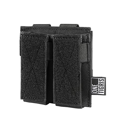 OneTigris Double Pistol Mag Pouch DD21 with Front Loop Panel for Glock M1911 92F Magazines 40mm Grenade (Black)