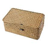 Vosarea cesta de almacenamiento de ratán cesta de algas marinas de paja cesta de almacenamiento tejida a mano contenedor multipropósito con tapa para la decoración del hogar de escritorio