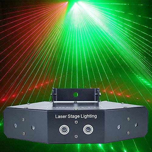 DjfLight Disco Bühnenlicht, Tonsteuerung Vollfarb-KTV-Blitz, Showtime-RGB-Laserbildlinien, Beamscans DMX DJ Dance Bar Coffee Xmas Zuhause Party Bewirken Lichtsystem