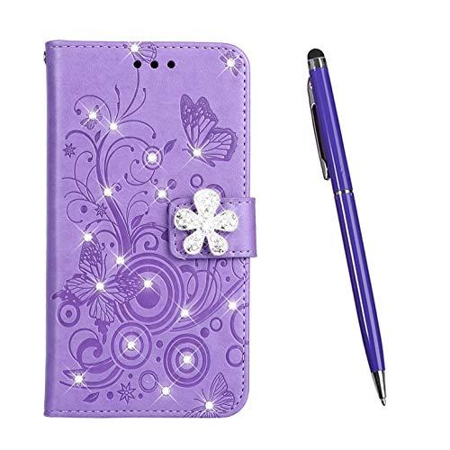 TOUCASA Hülle Kompatibel mit Xiaomi Redmi 6, Handyhülle Brieftasche PU Leder Flip [Diamond Series] Case Handytasche Klapphülle Kratzfestes Schutz Lederhülle (Lila)