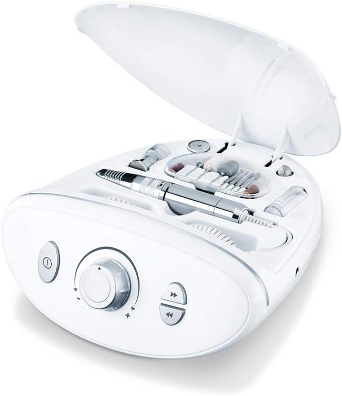 Beurer MP 100 estación profesional de manicura/pedicura eléctrica, 10 accesorios de zafiro y fieltro, tapa de protección contra el polvo de las uñas, hasta 20.000 revoluciones por minuto