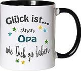 WarmherzIch Becher Tasse Glück ist… Opa Kaffee Kaffeetasse liebevoll Bedruckt