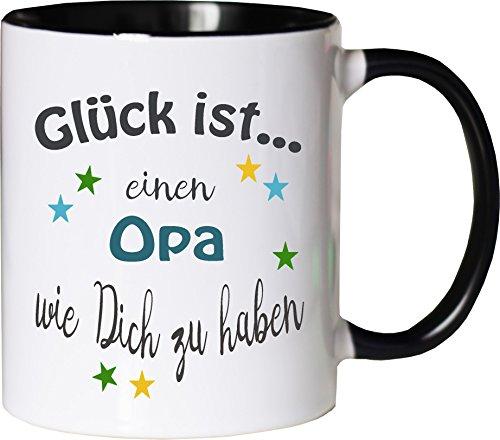 WarmherzIch Becher Tasse Glück ist… Opa Kaffee Kaffeetasse liebevoll Bedruckt Opi Großvater Vatertag Weiß-Schwarz