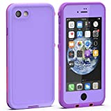 Diverbox iPhone SE 2020 Waterproof Case iPhone 8 Waterproof Case,Waterproof Shockproof IP68 Full-Body Sturdy Case Built-in Screen Protector, Durable Underwater for Full Sealed Cover 4.7 in (Purple)