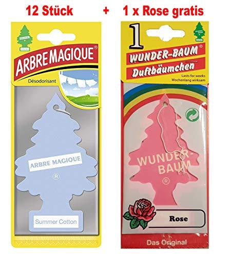 Wunderbaum 12 Stück Summer Cotton (Baumwolle) Wunder-Baum Lufterfrischer Duftbaum + 1 Stück Rose gratis/Duftbäumchen Little Trees (Summer Cotton)