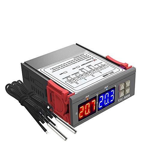 KKmoon Doppio Display Digitale Termostato Regolatore di Temperatura -50 ° C ~ 110 ° C con Doppia Sonda NTC Sensore Riscaldatore Uscita a Due Relè 110-220V