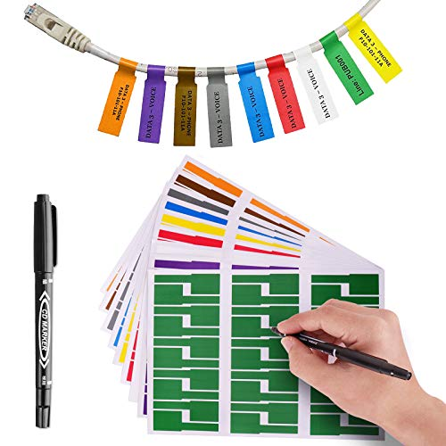 OPQH 540 Colorful Cable Labels with Mark Pen, Cord Labels Can Write On, Self Adhesive Wire Labels Printable A4 Sheet for Laser Printer and Handwriting Cable Organize