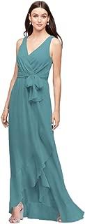 Ruffle-Trim Chiffon Faux-Wrap Bridesmaid Dress Style F19748