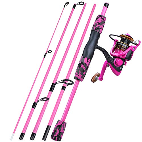 YONGZHI Spinning Fishing Rod,5-Piece Portable Fishing Pole and Reel Combo for Boys,Girls and Adults-R