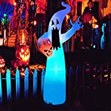 Oyydecor 12 Ft Halloween Inflatable Ghost with Skull Blow Up Party Decoration with Color Changing LEDs for Outdoor Indoor Holiday Yard Lawn