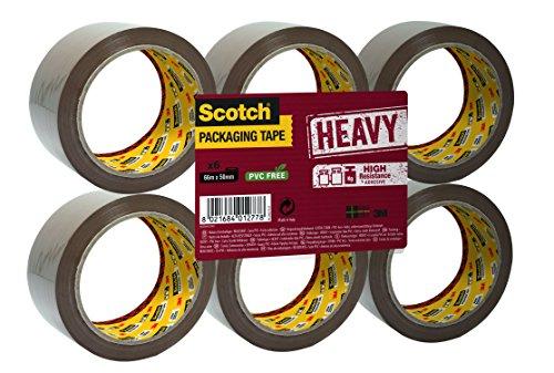 Scotch - Cinta de embalaje de alta resistencia, color marrón en pack con 6 rollos encelofanados en plano