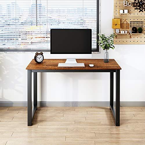 Escritorio para computadora de 47 pulgadas, diseño simple y moderno, resistente, mesa de escritura, para oficina en casa, oficina, estación de trabajo, sándalo, marco de metal (47 pulgadas, sándalo)