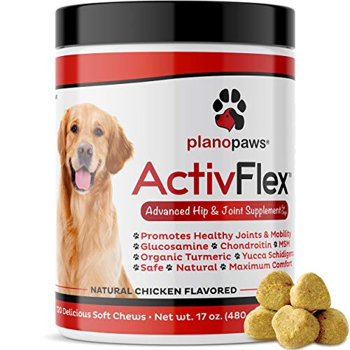 ActivFlex - Glucosamine for Dogs Hip and Joint Supplement - Safe Joint Support for Dogs - Natural Dog Joint Supplement with Glucosamine Chondroitin MSM Turmeric - 120 Dog Arthritis Pain Relief Chews