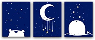 """HPNIUB Adorable Wildlife Animal Art Prints Lovely Cartoon Painting, Set of 3 (8""""X10"""" Bear,Whale,Stars&Moon Canvas Poster, Night Sky Wall Art for Nursery Kids Bedroom Toddlers, No Frame"""
