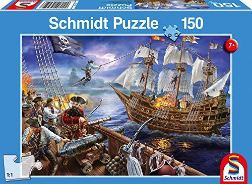 Schmidt Spiele 56252 Abenteuer mit den Piraten, Kinderpuzzle, 150 Teile, blau