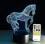 Schreibtischlampe Kinder,Pferd 3D Optische Täuschungslampe 7 Farben Ändern Touch Button 15 Tasten Steuern Kreative Kunst Visuelle Nachtlampe