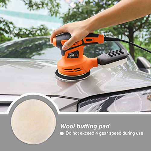 TACKLIFE 5-Inch Random Orbit Sander, 6 Variable Speed 13000RPM Electric Sander, 10 Pcs Sandpapers, 3 Polishing Kit, Efficient Dust Collection System for Sanding, Finishing, Polishing Wood-PRS02A
