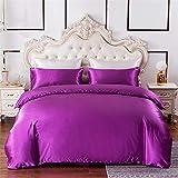 Chanyuan Ropa de cama de 155 x 200 cm, 2 piezas, color morado, satén y seda, 1 funda nórdica elegante de 155 x 200 cm con cremallera y 1 funda de almohada de 80 x 80 cm