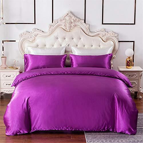 Chanyuan Juego de ropa de cama de satén, 220 x 240 cm, seda sedosa, 3 piezas, color lila, funda nórdica con cremallera y 2 fundas de almohada de 80 x 80 cm