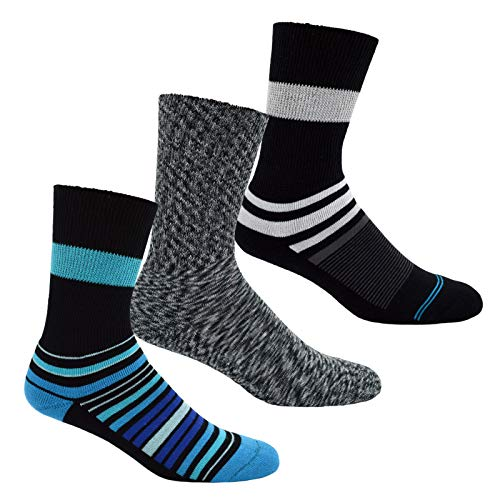 Diabetic Socks for Men & Women Non-Binding Loose Crew Fit with Seamless Toe, Extra Wide Ankle & Cushion Sole Set/3 (Pairs) Neuropathy Socks - Unisex Womens 9-12 Mens 10-12