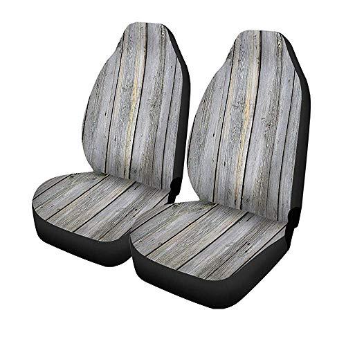 Beth-D set van 2 autostoelhoezen blauw grijs verouderd paneel-houten hek licht gesloten kleur universele auto front seats protector 14-17IN