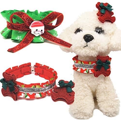 tangger 2PCS Collares Navideños para Perros Medianos y Grandes,Rojo y Verde,Cuello 40 cm,Collar de Navidad para Perros con Pajarita Santa Claus Copos De Nieve Osito
